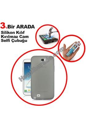 Teknomeg Samsung Galaxy Note 2 Füme Silikon Kılıf + Temperli + Selfie