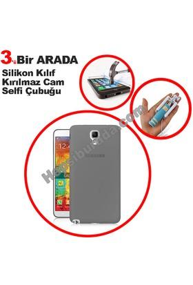 Teknomeg Samsung Galaxy Note 3 Neo Füme Silikon Kılıf + Temperli + Selfie