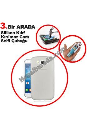 Teknomeg Samsung Galaxy Grand Duos Şeffaf Silikon Kılıf + Temperli + Selfie