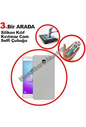Teknomeg Samsung Galaxy A3 2016 Şeffaf Silikon Kılıf + Temperli + Selfie