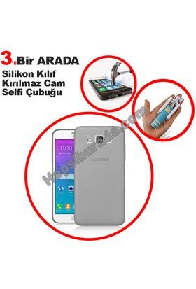Teknomeg Samsung Galaxy Grand Max Füme Silikon Kılıf + Temperli + Selfie