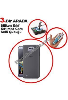 Teknomeg Lg X Cam Füme Silikon Kılıf + Temperli + Selfie