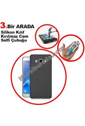 Teknomeg Samsung Galaxy J7 2016 Füme Silikon Kılıf + Temperli + Selfie