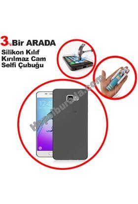 Teknomeg Samsung Galaxy A3 2016 Füme Silikon Kılıf + Temperli + Selfie