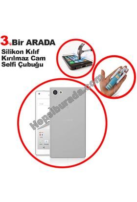 Teknomeg Sony Xperia Z5 Compact Şeffaf Silikon Kılıf + Temperli + Selfie