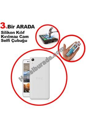 Teknomeg Htc Desire 728 Şeffaf Silikon Kılıf + Temperli + Selfie