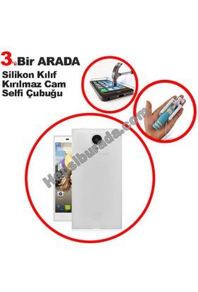 Teknomeg General Mobile Discovery Elite Şeffaf Silikon Kılıf + Temperli + Selfie