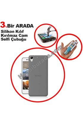 Teknomeg Htc Desire 728 Füme Silikon Kılıf + Temperli + Selfie