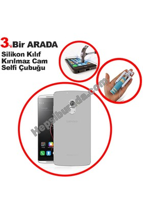 Teknomeg Lenovo A7010 Şeffaf Silikon Kılıf + Temperli + Selfie