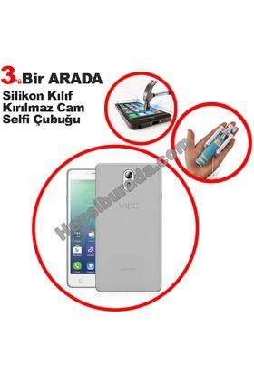 Teknomeg Lenovo P1 Şeffaf Silikon Kılıf + Temperli + Selfie