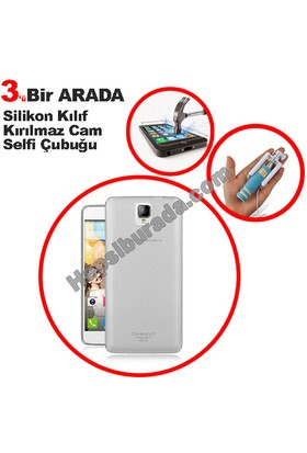 Teknomeg General Mobile Discovery 2 Plus Şeffaf Silikon Kılıf + Temperli + Selfie