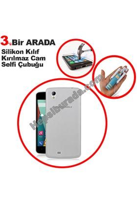 Teknomeg General Mobile Discovery 2 Mini Şeffaf Silikon Kılıf + Temperli + Selfie
