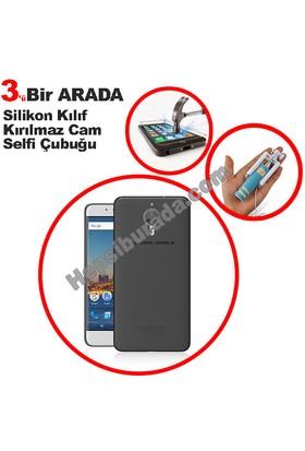Teknomeg General Mobile Android One Gm5 Plus Füme Silikon Kılıf + Temperli + Selfie