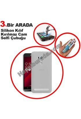 Teknomeg Asus Zenfone Selfie Zd551Kl Şeffaf Silikon Kılıf + Temperli + Selfie