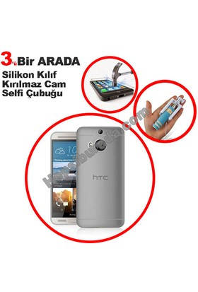 Teknomeg Htc One M9 Plus Şeffaf Silikon Kılıf + Temperli + Selfie