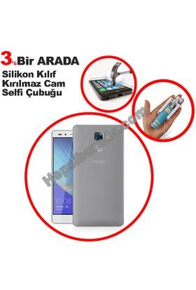 Teknomeg Huawei Honor 7 Şeffaf Silikon Kılıf + Temperli + Selfie
