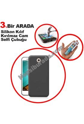 Teknomeg Vodafone Smart 7 Style Füme Silikon Kılıf + Temperli + Selfie