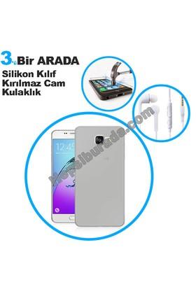 Teknomeg Samsung Galaxy A5 2016 Şeffaf Silikon Kılıf + Temperli + Kulaklık