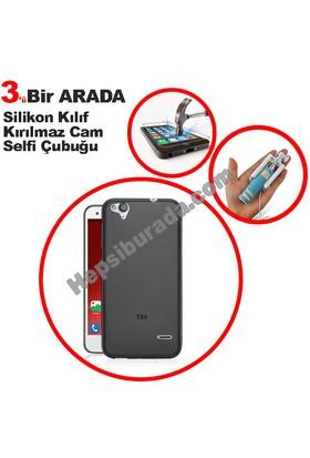 Teknomeg Turkcell T60 Füme Silikon Kılıf + Temperli + Selfie