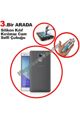 Teknomeg Huawei Honor 7 Füme Silikon Kılıf + Temperli + Selfie