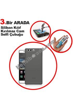 Teknomeg Huawei P9 Füme Silikon Kılıf + Temperli + Selfie