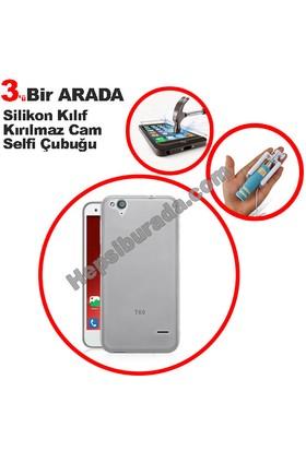 Teknomeg Turkcell T60 Şeffaf Silikon Kılıf + Temperli + Selfie
