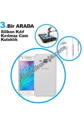 Teknomeg Samsung Galaxy J1 Ace Şeffaf Silikon Kılıf + Temperli + Kulaklık