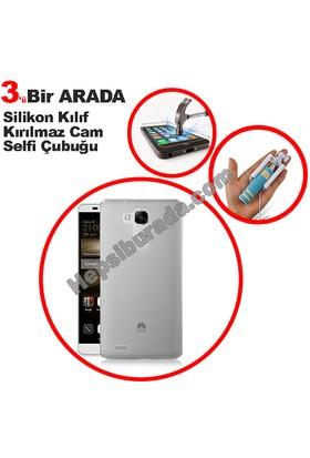 Teknomeg Huawei Mate 7 Şeffaf Silikon Kılıf + Temperli + Selfie