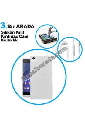 Teknomeg Sony Xperia Z2 Şeffaf Silikon Kılıf + Temperli + Kulaklık