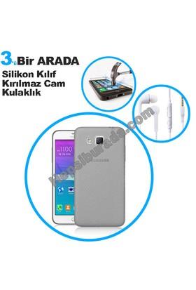 Teknomeg Samsung Galaxy Grand Max Füme Silikon Kılıf + Temperli + Kulaklık