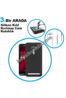 Teknomeg Asus Zenfone Selfie Zd551Kl Füme Silikon Kılıf + Temperli + Kulaklık