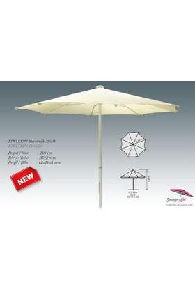 Yuvarlak Kiwi Model Şemsiye 8 Kol Jute Kumaş Klips Saçaksız 2,5 Metre