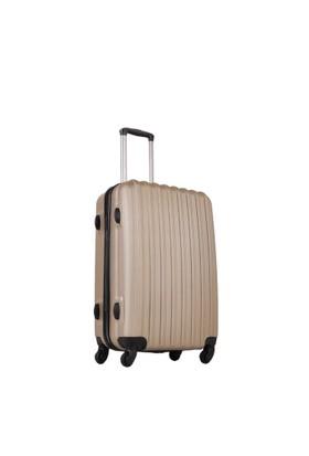 Ground Orta Boy Valiz 4 Tekerlekli Bavul Altın 10522