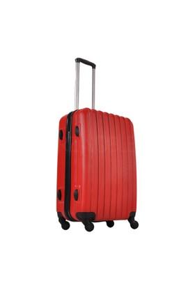 Ground Orta Boy Valiz 4 Tekerlekli Bavul Kırmızı 10522