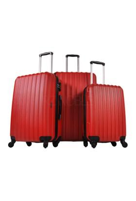Ground 3'Lü Valiz Seti 4 Tekerlekli Kırmızı 10522