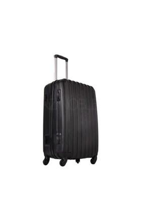 Ground Orta Boy Valiz 4 Tekerlekli Bavul Siyah 10522