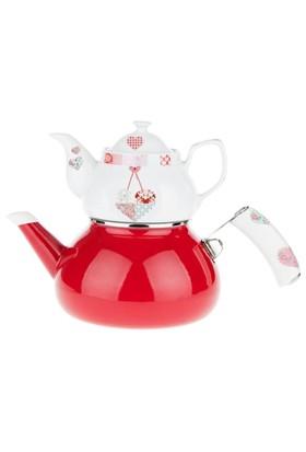Biev Patchwork Emaye Porselen Çaydanlık Takımı