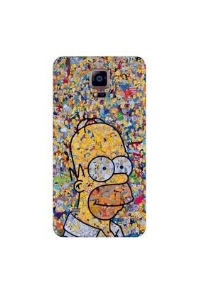 Bordo Samsung Galaxy Note 4 Edge Kapak Kılıf Simpson Baskılı Silikon