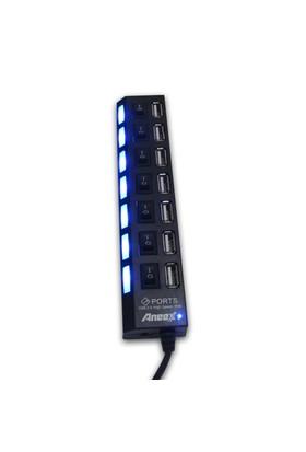 Aneex E-B376 Usb 2.0 Siyah 7 Port Açma/Kapama Butonlu Usb Çoklayıcı