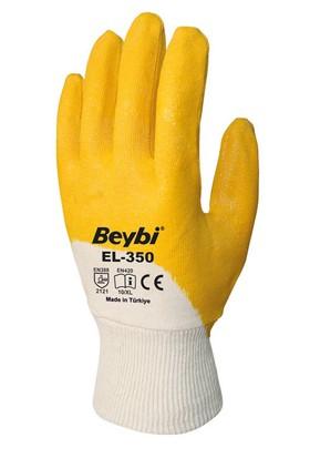 """Nitril Eldiven Sarı-Beyaz 10"""" Beybi El-350 / 1 Çift"""