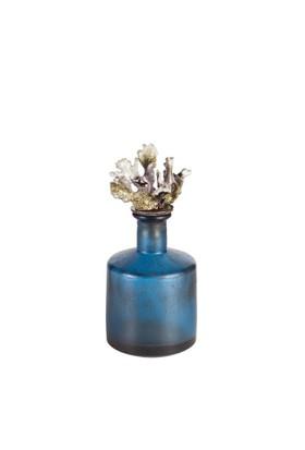 Eskitme Mercanlı Mavi Dekoratif Cam Şişe