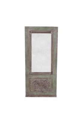 Kabartma Ahşap Çerçeveli Yeşil Ayna
