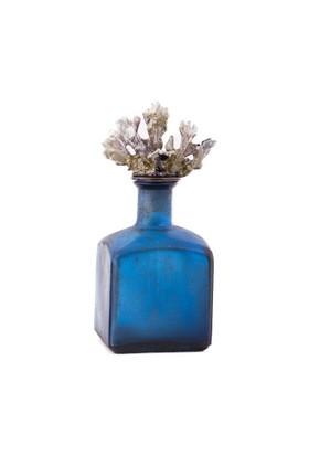 Eskitme Mercanlı Mavi Dekoratif Prizmatik Cam Şişe