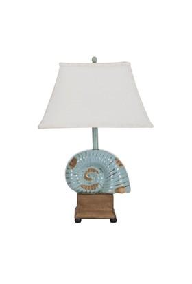 Seramik Deniz Kabuğu Figürlü Masa Lambası