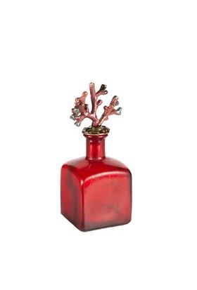 Eskitme Mercanlı Kırmızı Dekoratif Prizmatik Cam Şişe