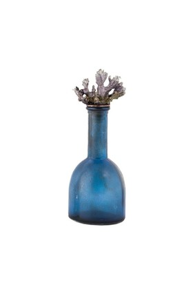 Dekoratif Mercanlı Mavi Eskitme Cam Şişe