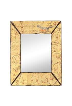 Kuş Desenli Ahşap Çerçeveli Ayna