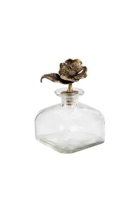 Galvaniz Çiçek Kapaklı Dekoratif Cam Şişe