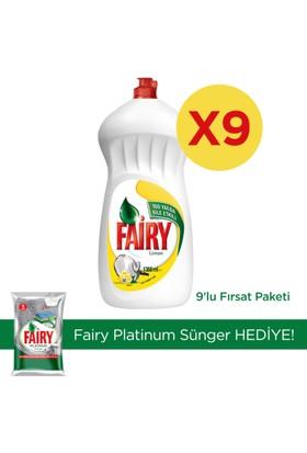Fairy Sıvı Bulaşık Deterjanı Limon 1350 ml 9'lu (Sünger Hediye)
