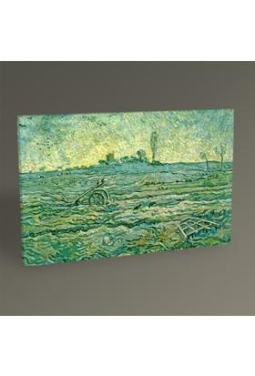 Tablo360 Vincent Van Gogh Saban ve Tırmıklı Manzara 45 x 30